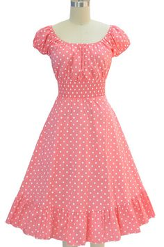 peasant top polka dot sun dress - lt. pink & white | le bomb shop