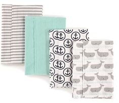 Keep mommy's and daddy's clothes protected from spit-ups whiling burping baby with the Burp Cloth Set from Hudson Baby. Made of flannel cotton for maximum absorbency and a super soft feel on your child's skin, these burp cloths make cleanup easy. Baby Burp Cloths, Burp Cloth Set, Burping Baby, Baby Vision, Baby Flannel, Whale Pattern, Anchor Pattern, Baby Whale, Burp Rags