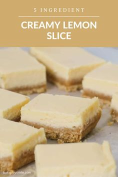 A classic creamy lemon slice made with just 5 ingredients! This baked lemon slice takes less than 10 minutes to prepare... and tastes AMAZING!!! Lemon Dessert Recipes, Sweet Recipes, Baking Recipes, Delicious Desserts, Yummy Food, Desert Recipes, Fun Food, Food Art, Recipe Using Lemons