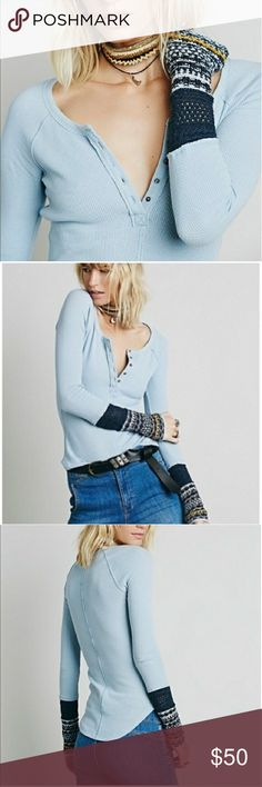 Free People Thermal Cable Knit Free People long sleeve thermal shirt with cable knit cuffs and metal buttons. Free People Tops