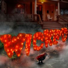 Pre-Lit Wicked Sign Halloween Decor adds a spooky artistic touch to your yard display. Let the trick-or-treaters know what they're in for! Glowing orange sign is 2 feet tall, providing a dramatic display for your yard or porch.