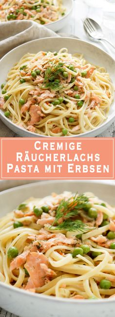 - Cremige Räucherlachs Pasta mit Erbsen This delicious recipe for creamy smoked salmon pasta with peas, lemon, crème fraîche and dill is quick. And despite a preparation time of 20 minutes you get a healthy dish with fresh ingredients on the table. Healthy Pastas, Healthy Dishes, Easy Healthy Recipes, Pea Recipes, Salmon Recipes, Cooking Recipes, Smoked Salmon Pasta, Crema Fresca, Pasta With Peas
