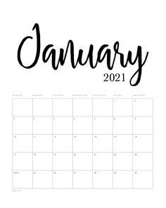 Free Printable 2021 Minimalist Calendar - The Cottage ...