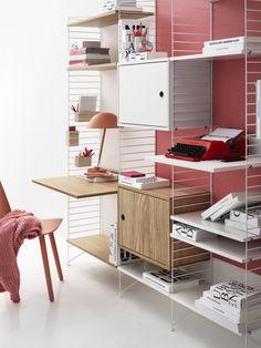 Workspace Inspiration, Furniture Inspiration, Adjustable Height Table, Adjustable Shelving, String Regal, String System, Shelving Solutions, Modular Shelving, Design Bestseller
