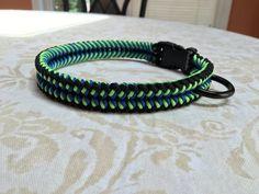 Paracord Dog Collar-325 Black/325 Neon Green/325 Royal Blue