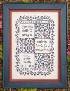 My Big Toe Designs For This Child - A Birth Sampler - Cross Stitch Pattern. For this child I prayed, and the Lord has answered. For this child could easily be s