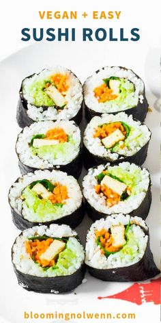 Easy Vegan Sushi Rolls, homemade, healthy, gluten-free and oil-free! These delicious and colorful sushi rolls are filled with guacamole, tofu and veggies. Easy Sushi Rolls, Veggie Sushi Rolls, Homemade Sushi Rolls, Sushi Roll Recipes, Sushi Sushi, Vegan Dinner Recipes, Vegan Recipes Easy, Vegetarian Recipes, Vegetarian Sushi Rolls
