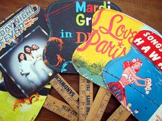 hand held fans from vintage record album covers and recycled yard sticks.