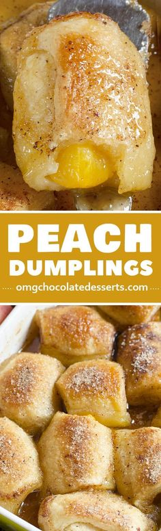 This Crescent Roll Peach Dumplings recipe is one of the Southern food dessert recipes. This is a great way to get a delicious, homemade dessert in less then 1 hour. #desertsfoodrecipes