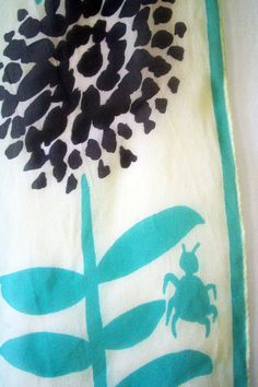 Vtg Vera Neumann scarf green black white bug flowers by thebirdi, $22.00
