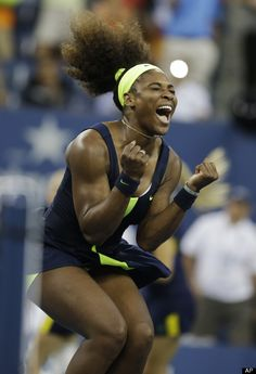 Serena Williams  Serena Williams reacts after beating Victoria Azarenka, of Belarus, in the championship match at the 2012 US Open tennis tournament, Sunday, Sept. 9, 2012, in New York. Two points from defeat, Williams suddenly regained her composure to come back and win the last four games, beating No. 1-ranked Azarenka 6-2, 2-6, 7-5 on Sunday for her fourth U.S. Open title and 15th Grand Slam title overall. (AP Photo/Darron Cummings)
