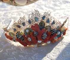 mermaid seashell tiara - red coral, sun dials, limpets, pearls, shell lining fragments, sea fan