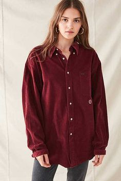 Vintage Oversized Corduroy Button-Down Shirt Polo Shirt Girl, Urban Renewal, Shirts For Girls, Corduroy, Urban Outfitters, Bomber Jacket, Button Down Shirt, Leather Jacket, Clothes For Women