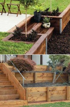 Treated pine sleepers can withstand rot, wood boring insects and other issues, so they are perfect for building retaining walls.