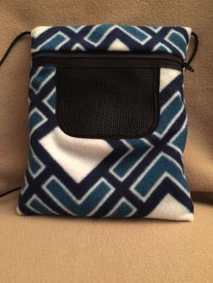 Blue & White Diamond Fleece Seamless Sugar Glider Bonding Pouch
