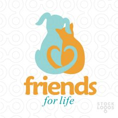 A cat and a dog leaning on each other in a friendly pose, with their tails forming a heart shape behind their backs. A friendly, cute, tender and caring logo. ( pets, puppy, puppies, friends, heart, loving, tenderness, sweetness, sweet, sweetheart, animal rights )