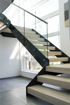 Steel Structure Modern Stair Gallery with solid timber treads and glass…