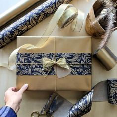 Pearl Gold wrapping paper with touches of our Botanical Indigo for this Mother's Day