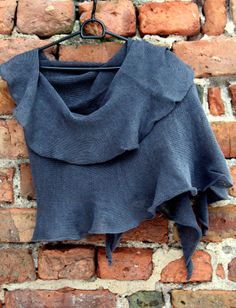 Linen Scarf Shawl Wrap Stole Asphalt Gray  Light by Initasworks, $74.00