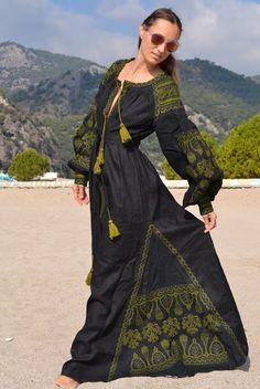 Custom order for Nana B Vyshyvanka Embroidered Bohemian Linen Folk Embroidery MAXI Dress Boho - XS-XXL
