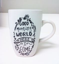 Hand Painted Coffee Mug by NaturesPatina on Etsy, $8.00