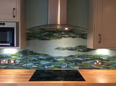 Bespoke Glass Splash back in 3 pieces, mounted on duck egg blue painted wall. www.jovincent.com Wall, Inspiration, Kitchen Extractor, Glass, Blue Painted Walls, House, Kitchen, Glass Kitchen, Splash
