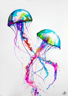 Colorful rainbow jellyfish watercolor - Narasumas Art Print