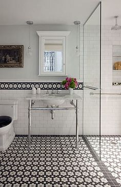 Like that this sink has some counter space. Liz-caan-interiors-interiors-contemporary-industrial-modern-traditional-transitional-bathroom Wonderful look updated, the tile is beautiful on the floor & as a wall boarder. Edwardian Bathroom, 1920s Bathroom, Attic Bathroom, Bathroom Renos, White Bathroom, Small Bathroom, Bathroom Ideas, Bathroom Marble, Design Bathroom
