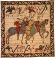 William Embarks. Depicts the events leading up to the Battle of Hastings (1066) when Duke William of Normandy was victorious over King Harold of Saxon, England.