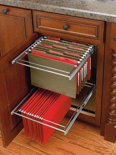 Two-Tier Pull-Out File Drawer System for Kitchen or Desk Cabinet by Rev-A-Shelf - Features Full-Extension Ball Bearing Slides Kitchen Desks, Kitchen Office, Big Kitchen, Office Cabinets, Base Cabinets, Filing Cabinets, Kitchen Cabinets, Cupboards, Kitchen Backsplash