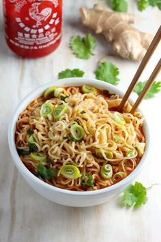 20-Minute Spicy Sriracha Ramen Noodle Soup - this soup will quickly become a Winter staple! #soup #recipe #easy #lunch #recipes