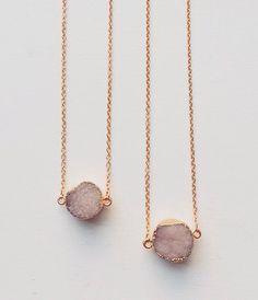 Rose Quartz Druzy Necklace ✨£7 each ✨from www.WeAreVR.co.uk  #jewellery #chokers #necklaces #rings #bohemian