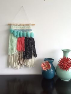 Sale 30% off Woven Wall Hanging  Aquamarine Coral by Weaverella