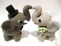 Elephant Wedding Cake Topper Choose Your Colors by topofthecake