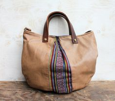 Navajo and Tan leather Tote - Emilie