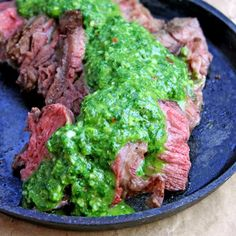 Vinegary, spicy, fresh & garlicky, this Chimichurri sauce will make any meal outstanding especially this Cast Iron Rib eye!