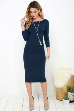 The True to You Navy Blue Midi Dress is loyally devoted to keeping you looking good