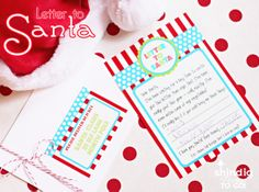 FREE printable Letter to Santa with North Pole address label and sweet note to Santa for Christmas Eve, too