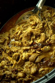 Chipotle shredded chicken crockpot--making this tonight, my house is going to smell amazing.