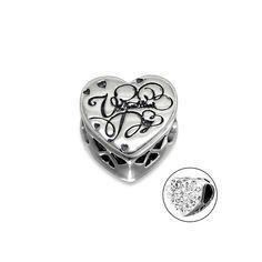626ec3b5e Valentine Day CZ Heart Charm Bead, 925 Sterling Silver, fits Pandora  Bracelets