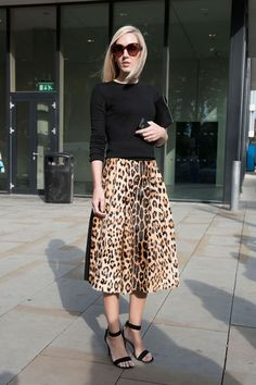 Pin for Later: The Best of Paris Fashion Week Street Style (Updated!) LFW Street Style Day 3 Jane Keltner de Valle pared down a notice-me leopard-print skirt with a black knit. Fashion Moda, Look Fashion, Autumn Fashion, Trendy Fashion, Paris Fashion, Street Fashion, London Fashion Bloggers, London Fashion Weeks, Knit Fashion