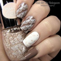 Nail Art By Belegwen: OPI Over The Taupe, Gina Tricot White and Essence Truth Or Dare?