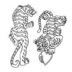 tiger tattoo flash design sketch - You are in the right place about nature tattoo Her - Traditional Tiger Tattoo, Traditional Tattoo Design, Traditional Japanese Tattoos, Neo Traditional, American Traditional, Irezumi Tattoos, Kunst Tattoos, Tribal Tattoos, Arabic Tattoos