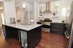 Two toned kitchen with flat panel cabinets