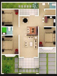 Tips Untuk Desain Rumah 3 Kamar Yang Nyaman Modern House Floor Plans, 3d House Plans, Model House Plan, House Layout Plans, Home Design Floor Plans, Home Room Design, Dream House Plans, House Layouts, Simple House Design