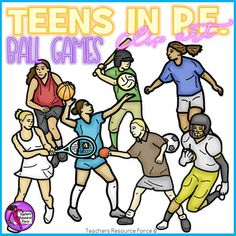 Realistic clip art of teenagers playing sports in PE!Product includes: American football Baseball Basketball Soccer / football Table tennis / ping pong Tennis VolleyballUse these for your own teaching resources or print them off for making your own uniquely themed bulletin boards in your classroom!Each image comes in both color and black and white and all are 300dpi png with transparent edges and closely cropped: great for…