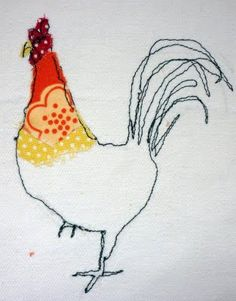 textile art -- Farm yard animals from sixty one A Freehand Machine Embroidery, Free Motion Embroidery, Free Machine Embroidery, Machine Applique, Hand Embroidery, Simple Embroidery Designs, Floral Embroidery Patterns, Embroidery Stitches, Thread Painting