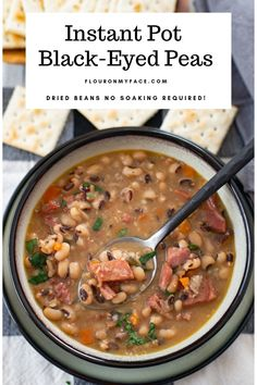 Instant Pot Black Eyed Peas Instant Pot Black-Eyed Peas recipe for a prosperous New Year. Dried beans will now be one of your favorite Instant Pot recipes. Cooking dried beans in the Instant Pot is so easy. Bean Recipes, Soup Recipes, Cooking Recipes, Cooking Ideas, Cooking Websites, Rice Recipes, Recipies, Dessert Recipes, Instant Pot Pressure Cooker