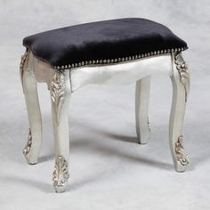 Antiqued Silver Leaf Dressing Table Stool