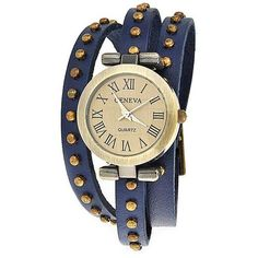 Bling Jewelry Retro Rivet Watch ($15) ❤ liked on Polyvore featuring jewelry, watches, blue, blue watches, retro jewelry, rivet jewelry, christmas watches and studded jewelry